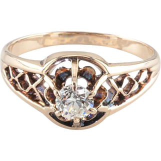 Vintage Victorian Style 0.25 ct Diamond Engagement Ring, 10k Rose Gold