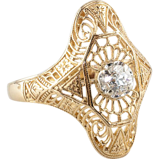 Vintage Edwardian 0.30 ct Diamond Ring, 14k Yellow Gold
