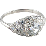 Vintage Art Deco Diamond Engagement Ring, 1.01 ct EGL-USA Certified, 900 Platinum