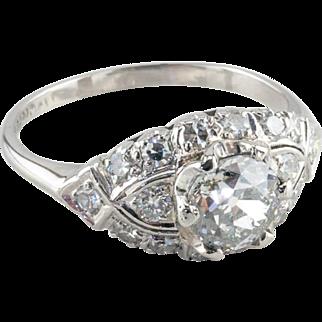 Vintage Art Deco Diamond Engagement Ring, 1.01 ct EGL-USA Certified, 900 Platinum