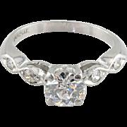 Vintage 900 Platinum Art Deco Style Diamond Engagement Ring, 0.90 ct