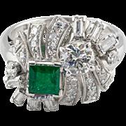 Vintage 900 Platinum Art Deco Style Diamond and Emerald Ring