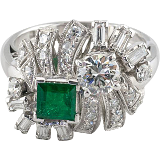Vintage 900 Platinum Art Deco Style Diamond and Emerald Ring