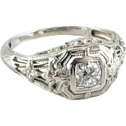 Vintage 18k White Gold Edwardian Diamond Engagement Ring, 0.15 ct