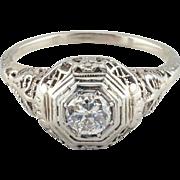 Vintage 18k White Gold Edwardian Diamond Ring, 0.45 ct