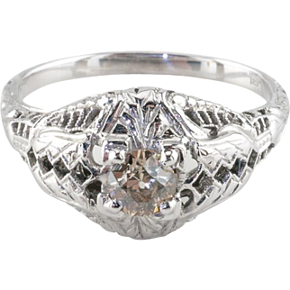 Vintage 18k White Gold Art Deco Diamond Engagement Ring, Light Champagne, 0.25 ct