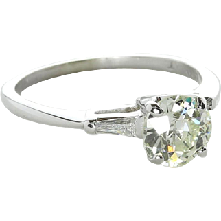 Vintage Art Deco 1.10 ct Diamond Engagement Ring, 14K White Gold