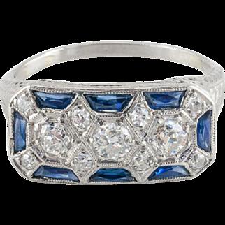 Vintage Art Deco 900 Platinum Diamond and Sapphire Ring
