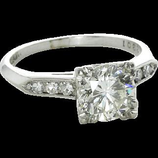 Mid-Century 1.60 Carat Diamond Engagement Ring, 900 Platinum
