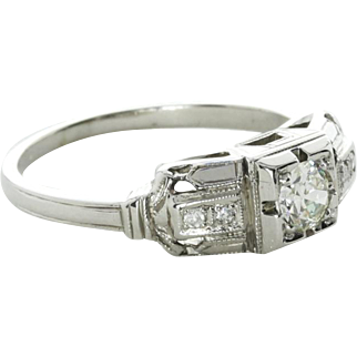 Art Deco 0.25 carat Diamond Engagement Ring, 18k White Gold