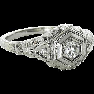 Vintage Edwardian 0.20 Carat Diamond Engagement Ring, 18K White Gold