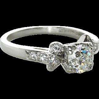 Vintage Art Deco 1.00 Carat Diamond Engagement Ring, 900 Platinum