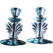 Fostoria Baroque Azure Blue Glass Candlestick Holders With An Art Deco Flame