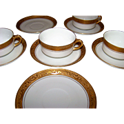 Heinrich H & Co Selb Bavaria Gold Design Set Of 4 Cups And 6 Saucers