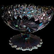 Fenton iridescent Cut Glass Carnival Glass Compote