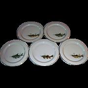Scherzer Bavaria Germany Set Of 5 Plates With Fish Designs