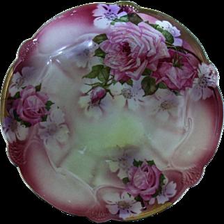 Vintage Germany Hand Painted Rose Design Serving Bowl