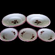 Haviland & Co Limoges Moss Rose Pink Trim Soup Bowls And Saucers