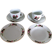 Haviland & Co Limoges Moss Rose Thin Gold Trim Cups Saucers And Fruit Bowls