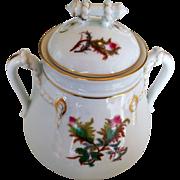Haviland & Co Limoges Moss Rose Gold Trim Sugar Bowl And Lid