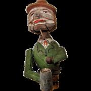 Vintage Carved Wood Mechanical Animated Bottle Stop Cork