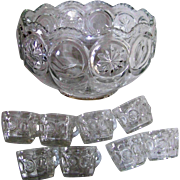 Moon & Star Vintage Punch Bowl With Eight Cups