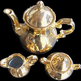 Golden Crown Osborne China Western Germany Tea Pot Creamer & Sugar
