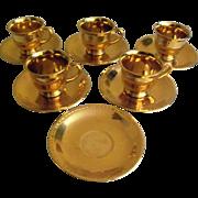 Homer Laughlin Georgian Gold Plated Demitasse Cups & Saucers