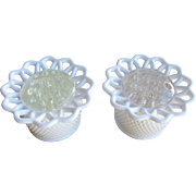 Imperial Glass Milk Glass Flower Frogs With Inserts