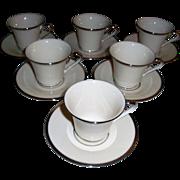 Lenox Solitaire Dimension Collection Set Of Six Cup & Saucer Sets