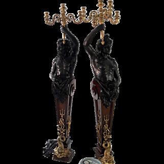 Palatial Louis XIV Style Bronze Torcheres 9'