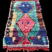 BOUCHEROUITE Moroccan Berber Handknotted Art Rag Rug Genuine Vintage - 1980's
