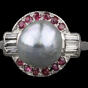 Baroque Tahitian Pearl Diamond Ruby Ring
