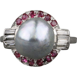 Baroque Tahitian Pearl Diamond Ruby Ring
