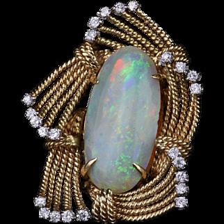 Vintage Austrian Opal & Diamond Brooch