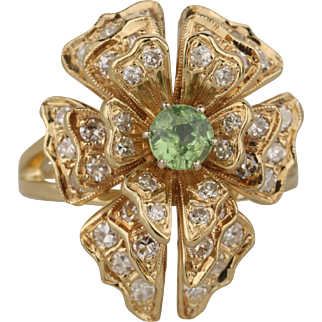 Vintage Demantoid Garnet Diamond Dinner Ring