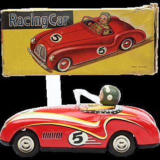 Red China Shanghai  MS  ME MF 760 Racing car nr. 5 Tin Toy early box 1950