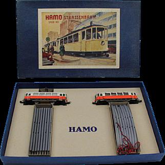 HAMO Strassenbahn HO electric street car ca. 1960 near mint in the original box, made in Germany