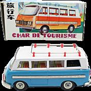 China Shanghai Tin Toy MF 243 Touring Bus ca 1960 friction motor in the original box