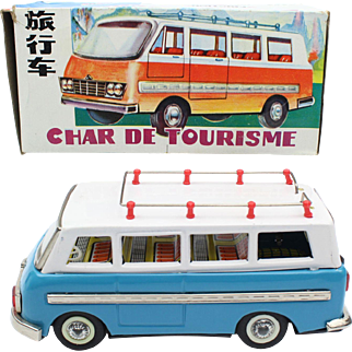 China Shanghai Tin Toy MF 243 Touring Bus ca 1960 friction motor in the original box