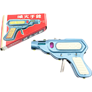 SPARKLING PISTOL MF 601 Tin Toy Gun made in China mint in the original box
