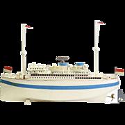 "Fleischmann deluxe Ocean Steamer ""Alfred Ballin"" Tin plate hand painted 50 cm toy boat clockwork motor 830/50"