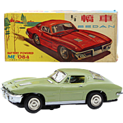 China Shanghai tin toy ME 084 sedan Corvette ca  1960 original box battery operated