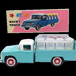 China Shanghai tin toy MF 707 dairy truck ca 1960 original box friction drive