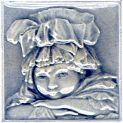 United States Encaustic Tile Works - c1880 - 18th Century Girl In Bonnet - Antique Majolica Portrait Tile