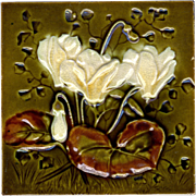 J. H. Barratt & Co. - c.1900 -  White Flowers On Green - Victorian Majolica - Embossed & Indented -  Antique Tile
