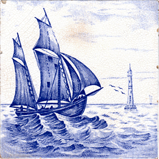 T & R Boote - c.1905 - Baltic Sea - Double Gaff Rigged - Schooner Albanus Class - English Antique Tile
