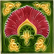 Ambrose Brooke Tile - c.1909 - Red & Yellow Flower - Art Nouveau - Antique Majolica