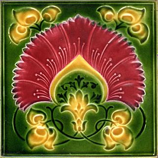 Ambrose Brooke Tile - c.1909 - Red & Yellow Flower - Art Nouveau - Embossed & Indented - Antique Majolica Tile