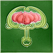 J. H. Barratt & Co. - c.1910 - Red Flowers On Green Field - Antique Art Nouveau Majolica Tile 1 - Red Tag Sale Item